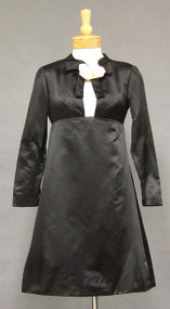Superb Sarmi Black Satin 1960's Cocktail Dress w/ Keyhole Neck & Back