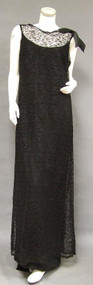 EXQUISITE Sarmi Boutique Black Lace Column Gown 37
