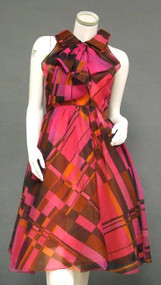 Naughty & Nice Hot Pink Patterned Organdy Sarmi 1960's Cocktail Dress