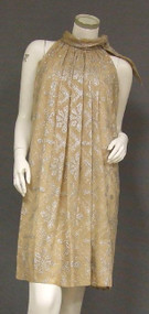 Shimmering Sarmi Beige & Silver 1960's Cocktail Dress