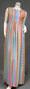 COLORFUL Striped Crepe 1960's Sarmi Evening Dress