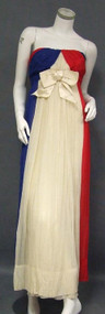 Sarmi Red, White & Blue Gathered Chiffon Strapless Goddess Gown