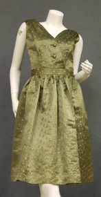 SUPERB Christian Dior Olive & Gold Satin Cocktail Dress w/ Jacket