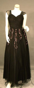SUPERB Black Tulle 1940's Evening Gown w/ Pink Sequins
