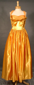 SHIMMERING Gold Liquid Satin 1940's Halter Gown