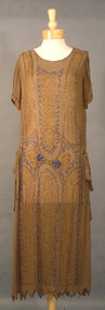 EXQUISITE Mocha Silk 1920's Cocktail Dress w/ Cobalt Beads 38
