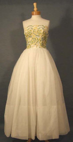 Beautiful Strapless Ivory Ball Gown w/ Yellow & Green Embroidery