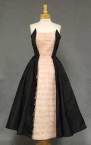 Awesome Black Taffeta & Pink Tulle Strapless 1950's Prom Dress
