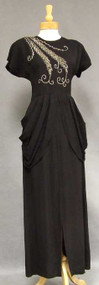 Wonderful Black Crepe 1940's Evening Gown w/ Sequined Trim
