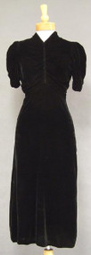 Draped Black Silk Velvet Early 1940's Cocktail Dress
