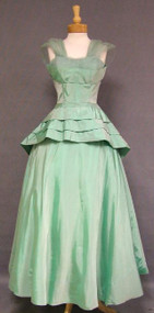 Iridescent Mint Taffeta 1950's Ball Gown w/ Layered Peplum