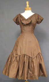Elegant Mocha Silk Taffeta 1950's Cocktail Dress 37