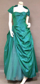 EXQUISITE Fred Perlberg Emerald Taffeta & Tulle 1950's Ball Gown w/ Swagged Skirt