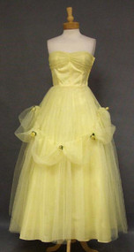 Feminine Yellow Tulle 1950's Prom Gown w/ Swagged Skirt