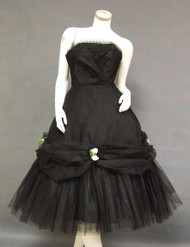 SUPER FULL Flocked Black Tulle 1950's Prom Dress w/ Swagged Skirt