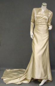 Sleek & Elegant Cream Satin 1960's Wedding Gown