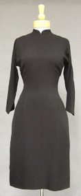 Don Loper Black Crepe Cocktail Dress w/ Mandarin Collar 37