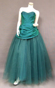 SUPERB Fred Perlberg Emerald Taffeta & Tulle 1950's Ball Gown
