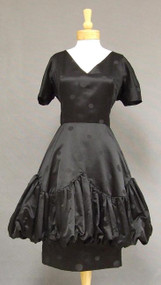 Black Silk Double Skirted Cocktail Dress w/ Balloon Hem 38