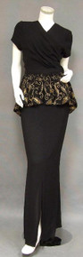Hollywood Glamor Frank Starr 1940's Evening Gown w/ Appliqued Peplum