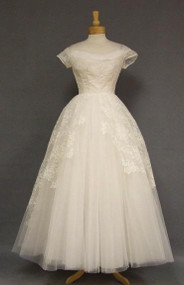 EXQUISITE Emma Domb Ivory Lace & Tulle 1950's Wedding Gown