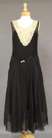 EXQUISITE Black & Beige Silk Late 1920's Gown w/ Beaded Neckline