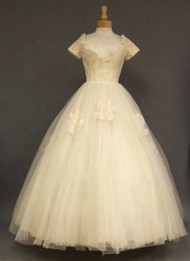 GORGEOUS 1950's Lace & Tulle Cahill Wedding Gown w/ Hoop