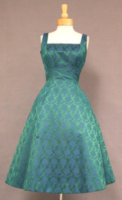 Green & Blue Brocade Estevez Cocktail Dress
