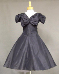 Chic Navy Blue Silk Taffeta 1950's Cocktail Dress