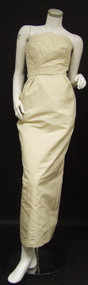 UNBELIEVABLE Cream Silk Strapless Wedding Gown w/ Trained Jacket & Veil