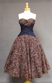 OUTSTANDING Midnight Blue Printed Ribbon Tulle 1950's Evening Dress