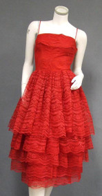 STYLISH Red Lace Cocktail Dress w/ Tiered Skirt