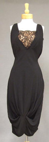 Graceful Black Crepe & Lace 1950's Cocktail Dress w/ Chic Hemline