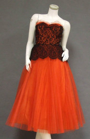 Striking Fiery Red Tulle & Black Lace 1950's Prom Dress