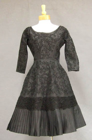 STUNNING Harvey Berin Appliqued Black Silk 1950's Cocktail Dress