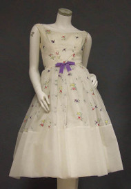 Lovely Fred Perlberg Ivory Cocktail Dress w/ Floral Embroidery