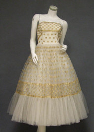 FANTASTIC Ivory Tulle 1950's Prom Dress w/ Gold Embroidery