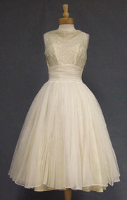 Fred Perlberg Ivory Chiffon Cocktail Dress w/  Sequins