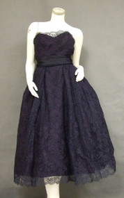 Superb Harvey Berin Navy Lace & Satin 1950's Cocktail Dress
