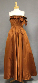 EXQUISITE Copper Silk Satin Corset Ball Gown