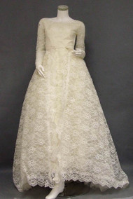 Elegant Early 1960's Lace Wedding Gown w/ Detachable Overskirt/Train