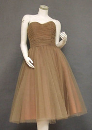 Elegant Tan & Mauve Tulle Strapless 1950's Cocktail Dress