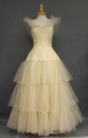 AMAZING Cream Tulle 1950's Ball Gown w/ Ruffled Straps & Tiered Skirt