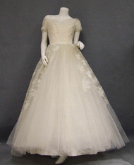 Cahill Ivory Lace & Tulle 1950's Wedding Gown w/ Off Shoulder Neckline