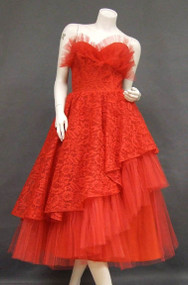 Cherry Red Ruffled Tulle & Lace 1950's Prom Dress