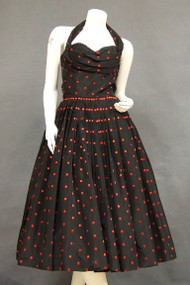 BOMBSHELL Fred Perlberg Black Taffeta 1950's Halter Dress w/ Red Polka Dots