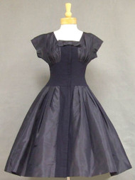 Navy Blue Silk Taffeta & Crepe 1950's Cocktail Dress