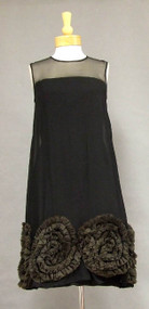 FAB Black Chiffon 1960's Cocktail Dress w/ Organdy Swirls