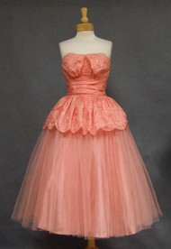 GORGEOUS Embroidered Salmon Organdy & Tulle 1950's Prom Dress