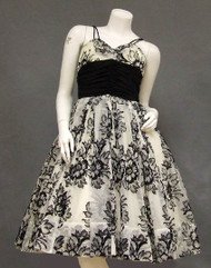 Striking Black & White Flocked Chiffon 1950's Cocktail Dress